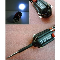 8-in-1 folding screwdriver with LED electric torch